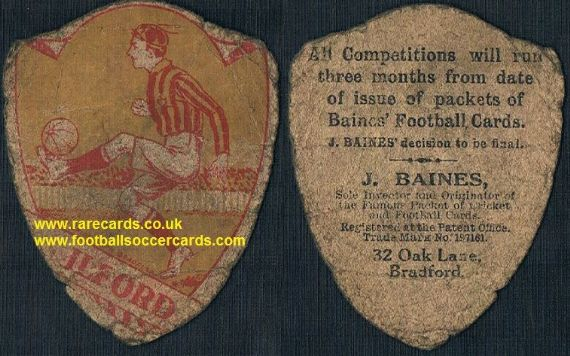 1914 Ilford United FC  Dagenham WHU later type Baines shield football trade card